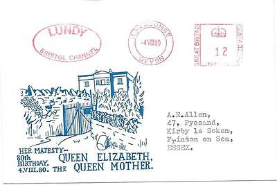 Lundy: Private Cachet - Queen Mother's 80Th Birthday