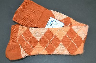 Vtg SUPER SOFT WISPY 75% HI-BULK ORLON ACRYLIC Rust Argyle CUFF KNEE SOCKS 9-11