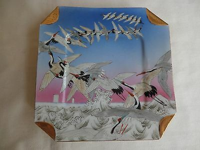 Vintage Japanese Porcelain Cup And Plate Decorated With Cranes Signed
