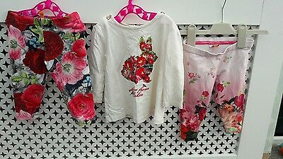 Ted baker baby girl floral bundle leggings and top cute 6-9 please read descript