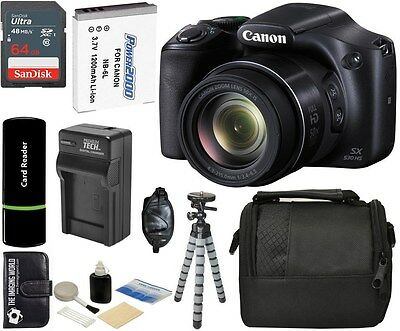 Canon PowerShot SX530 HS 16MP 50x Optical Zoom HD IS Digital Camera +64GB Bundle