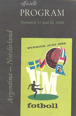 1958 World Cup programme: Northern Ireland v Argentina: Örjans Vall, Sweden