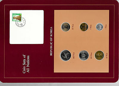 Coin Sets of All Nations Korea w/card UNC 1980-1984 10 Won 1980 1,100 Won 1982