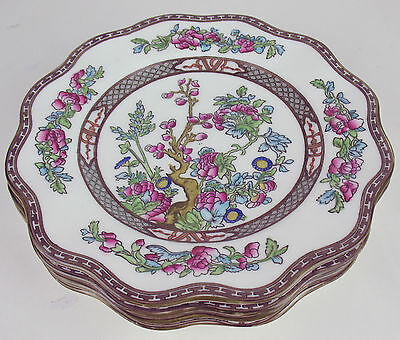 "4 x Luncheon Salad Plates 8 3/4"" Coalport Indian Tree fluted vintage England"