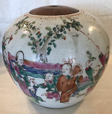 Ginger Jar with Hand Painted Figures Chinese 19th Century