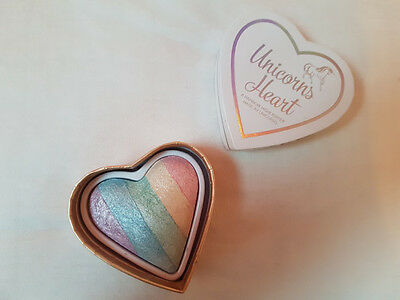 MakeUp Revolution I Heart MakeUp Unicorns Heart Rainbow Highlighter 10g Bnib