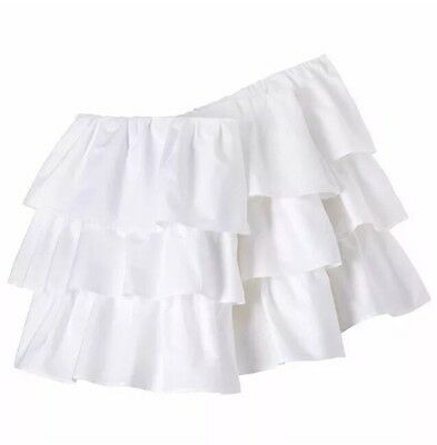 "Circo White Ruffled 3 Tiered Crib Bedskirt Dust Ruffle 14"" Drop NEW!"