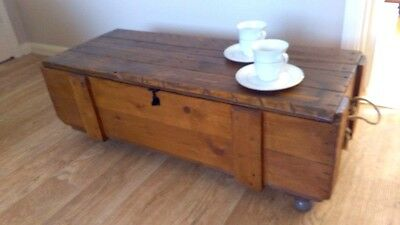 Vintage Reclaimed Antique Pine Chest / Coffee Table On Wheels Lockable Storage