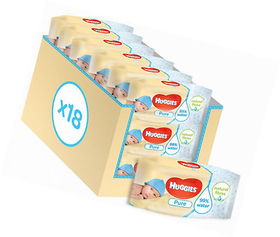 Huggies Pure Baby Wipes 18 Packs 1008 Wipes Total Fragrance Free Unscented
