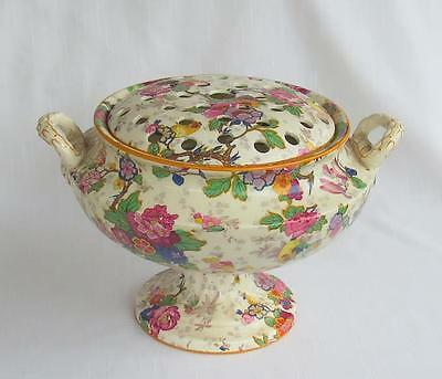 Crown Ducal Festival Chintz Centerpiece Bowl With Flower Frog