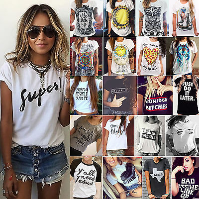 Women's Summer Letter T-Shirt Ladies Short Sleeve Casual Loose Blouse Tee Tops