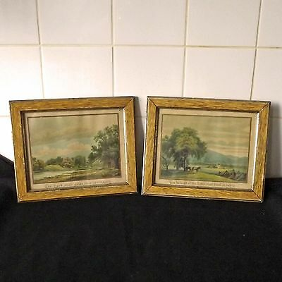 Pair Antique / Vintage Framed Biblical Prints - Quotations From Bible