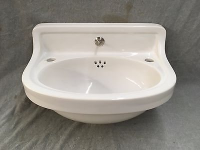 Antique Ceramic White Porcelain 1/2 Round Wall Powder Room Bath Sink Vtg 427-17E