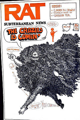 The Crazies Is Coming! Cover - Rare 1969 - Rat Newspaper Nyc - Original Scarce