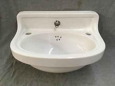 Antique Ceramic White Porcelain Half Round Wall Mount Bath Sink Old Vtg 428-17E