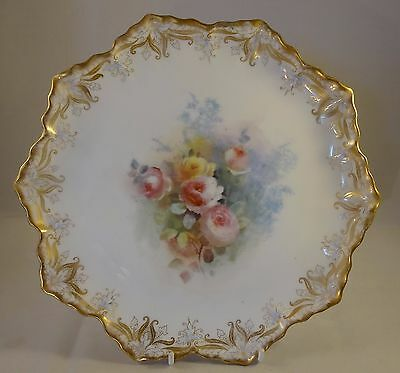 "Antique Royal Doulton Burslem Wavy Edged 9"" Floral Cabinet Plate 1891 RD 184624"