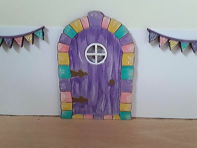 Hand painted glittered fairy door with bunting