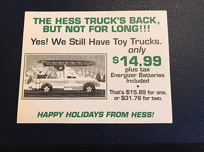 RARE 1994 Hess Toy Truck Advertising Card Sign