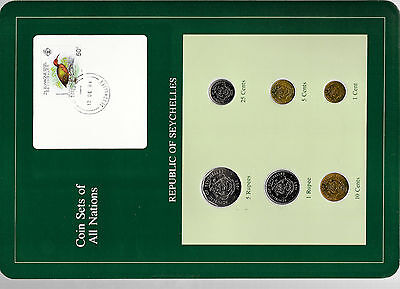 Coin Sets of All Nations Seychelles all 1982 but 10 cents 1981 UNC w/Card