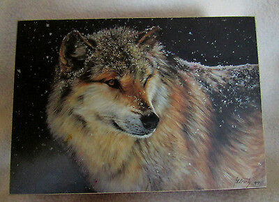 Wood & Velvet lined Jewelry box with WOLF Print signed by Aldrich 97 on the top