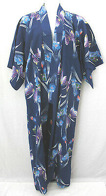 Japanese Cotton Navy Floral Butterfly Print Kimono Long Robe Size M-L tall 64.5