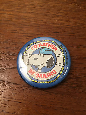 Vintage Snoopy Id Rather Be Sailing Pin Back Button