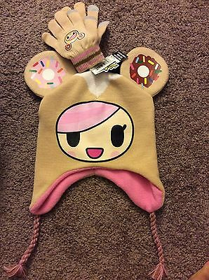 New Tokidoki Neon Star Donutella And Friends Hat Beanie And Gloves