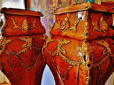 """Majestic Pair of Large French Empire Style Pedestals Marble Top Table Stands 56"""""""