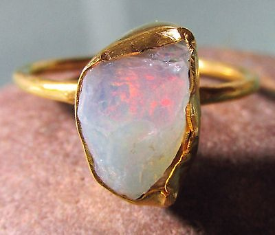 Gold plated brass everyday rough Ethiopian Opal ring UK R/US 8.75