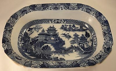 Antique Oriental Blue & White Transfer Ware Willow Pattern Serving Dish Tureen