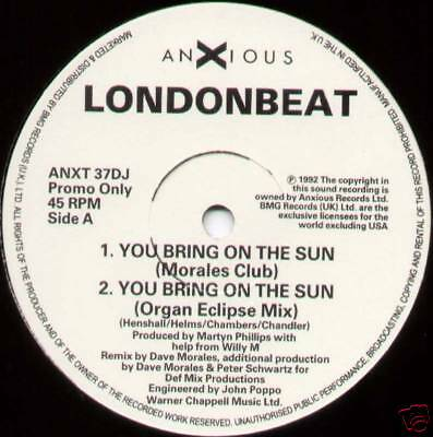 "Londonbeat ~ You Bring On The Sun (Remixes) ~ 1992 Uk 4-Track ""promo"" 12"" Single"