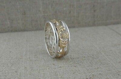 10K & Sterling Silver Scottish Thistle Wedding Ring KEITH JACK Size 7.5