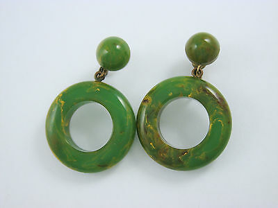 Vintage Bakelite Marbled End of Days Green Yellow Brown Earrings