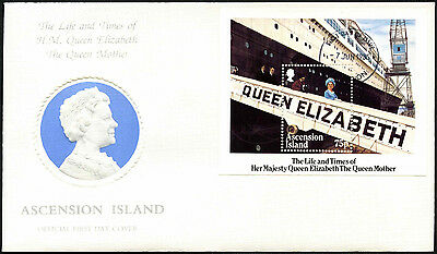 Ascension Island 1985 The Queen Mother M/S FDC First Day Cover #C42348