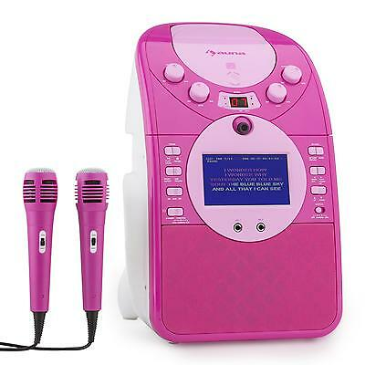 Karaoke Chica niña Pantalla Video Letras Reproductor CD USB SD 2 Microfonos Rosa