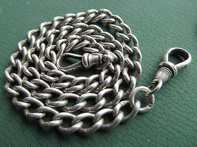 Vintage silver  pocket watch chain 14  inches long.