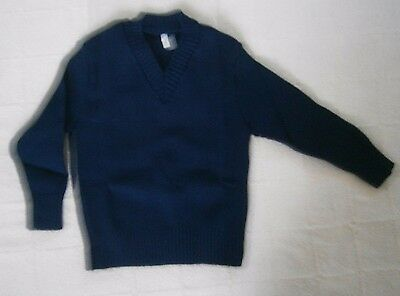 Vintage V-Neck Sweater - Age 4 - Navy -  Acrylic - French - New