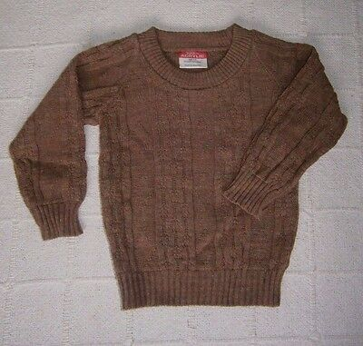 Vintage  Crew-Neck Sweater - Age 3-4 - Brown Heather Mix - Cable Pattern - New