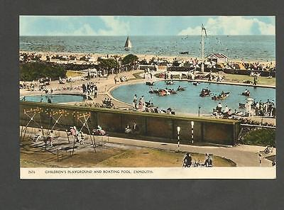 Vintage Postcard Of Exmouth Children's Playground And Boating Pool
