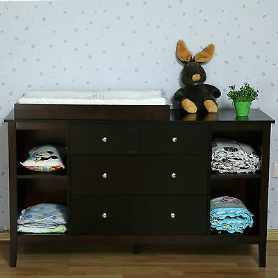 *New Walnut New Zealand Pine Baby Change Table 4 Chest of Drawers & Change Pad