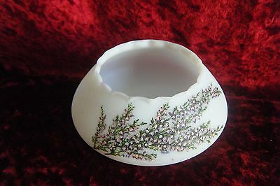 Delightful small frosted white glass hand painted Scottish Heather bowl
