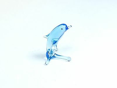 Tiny glass toy. Blue dolphin Murano Artю Handmade ornament. See VIDEO