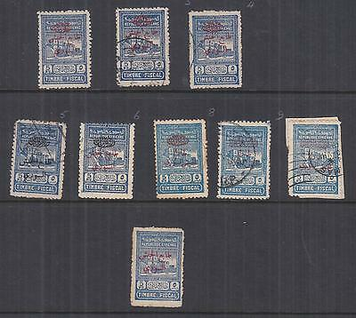 SYRIA, Obligatory Tax, 1945 5p. Blue, selection, mint no gum & used (8) + fiscal