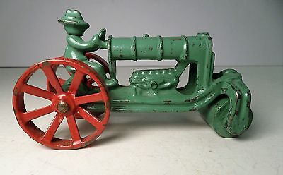 1920's Green & Red Hubley Cast iron Tractor Steam / Road Roller Arcade