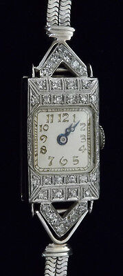14K / 18K White Gold and Diamond T. Lafond Art Deco Watch