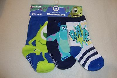 DISNEY MONSTERS INC. SET OF 3 PAIRS SOCKS NWTS BABY SIZED 12-24 months.