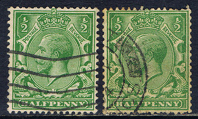 Great Britain #159(7) 1912-13 1/2 pence green George V 2 Used CV$2.20
