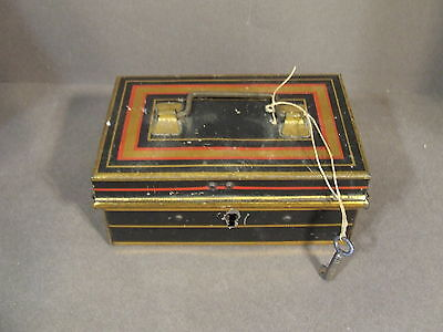 Small Vintage Metal Tin Trinket Jewelry Lock Box With Key Made In England