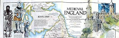 1979 National Geographic Society Medieval England & British Isles Map, Loose