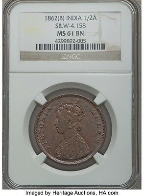 British India Victoria 1862 1/2 anna NGC MS 61 BUNC , very rare